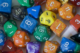 pic of dodecahedron  - A group of various multicolored game dice - JPG