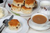 image of devonshire  - Scones with strawberry jam and clotted cream - JPG