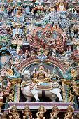 pic of meenakshi  - colorful reliefs of Hindu gods in the temple of Meenakshi - JPG
