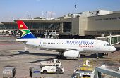 JOHANNESBURG - APRIL 18:Airbus A320 disembarking passengers after locall flight on April 18, 2012 in