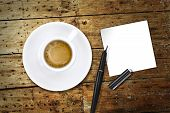 Coffee, With Pen And Notes