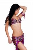 Belly dancer wearing a jeweled magenta bellydance costume