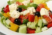 pic of greek food  - Close up of Greek salad on white dish - JPG