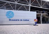 Entrance And Signboard Of Oceanarium, Lisbon, Portugal
