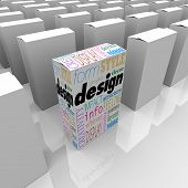 One product box has great graphic design with words such as form, style, decor, graphic, creativity,