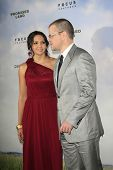 LOS ANGELES - DEC 6:  Matt Damon, Luciana Baroso arrive at the 'Promised Land' Premiere at Directors