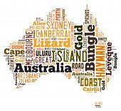 Nube de palabra de Australia mapa