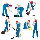 Conjunto de siete trabajadores de limpieza en Uniform.eps azul
