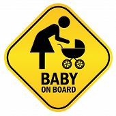 Baby on board yellow sign