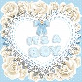 it`s a boy baby shower on heart and roses background