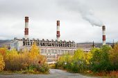 stock photo of murmansk  - Thermal power station in northern Russia - JPG