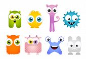 pic of animated cartoon  - Set of Crazy Cartoon Mascot Vector Monsters - JPG