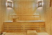 foto of swedish sauna  - this file as a souna room make from natural wood - JPG
