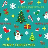 retro seamless pixel game Christmas vector pattern