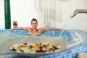 spa hydrotherapy woman waterfall swimming pool water