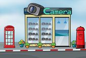 Illustration of a camera store, letterbox and callbox