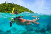 Underwater portrait of a woman snorkeling in tropical sea.