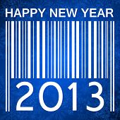 2013 new years illustration with barcode and snowflakes on blue background
