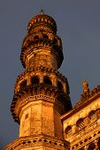 stock photo of charminar  - Tall single Minaret of 400 year old Charminar - JPG