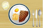 illustration of a meat with omlet and fries in a dish on a wooden background