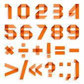 picture of arabic numerals  - Font folded from colored paper  - JPG