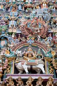 picture of meenakshi  - colorful reliefs of Hindu gods in the temple of Meenakshi - JPG