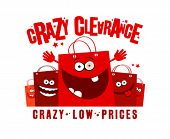 Crazy clearance low prices illustration with shopping bags