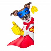 picture of beside  - super hero dog with red cape and a blue mask beside a blank banner - JPG