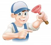 stock photo of dungarees  - Cartoon plumber or janitor holding a rubber plunger and pointing - JPG