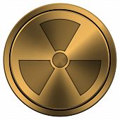 stock photo of radium  - Metallic icon with carved design on copper-colored