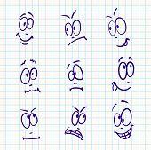 Emotion, vector set of nine face