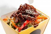 stock photo of lunch box  - Chinese Fried Rice with Beef and Vegetables - JPG