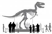 Editable vector silhouettes of people looking at a Tyrannosaurus rex skeleton in a museum