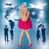 Travel concept. Vector surprised blonde in pink dress do not know where to fly. All layers well organized and easy to edit
