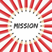 Mission word with pencil background