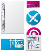 stock photo of tic-tac-toe  - Tic tac toe company business set in blue and pink - JPG