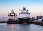 Oil Supply Ships In Esbjerg Harbor, Denmark