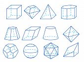 stock photo of octahedron  - Different vector geometry figures on white background - JPG
