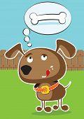 Vector funny cartoon dog.