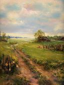 stock photo of realism  - rural retro scene landscape painting  - JPG