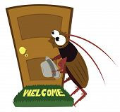 picture of guest-house  - a vector cartoon representing an unwanted guest visiting a house - JPG