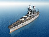 stock photo of battleship  - Computer generated 3D illustration with the American Battleship USS Arizona from the second world war - JPG