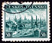 Postage Stamp Czechoslovakia 1938 View Of Pilsen, Plzen