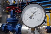 Pressure Gauge At The Gas Compressor Station