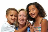 picture of biracial  - Portrait of biracial family smiling against a white background - JPG