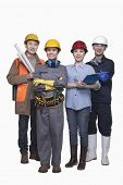 image of friendship belt  - Group of construction workers standing against white background - JPG
