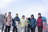 Group of Snowboarders in Ski Resort, portrait