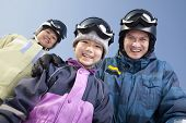 Family in Ski Resort, low angle view portrait