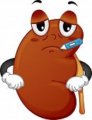 image of sick kidney  - Mascot Illustration Featuring a Sick Kidney with a Thermometer in its Mouth - JPG