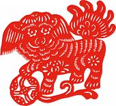 stock photo of chinese unicorn  - Chinese traditional culture paper cut of unicorn - JPG